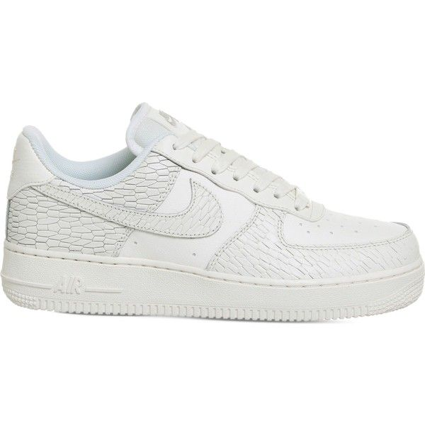 Nike Air Force 1 07 crack-effect leather trainers (325 RON) ❤ liked on Polyvore featuring shoes, sneakers, genuine leather shoes, decorating shoes, air sole shoes, nike footwear and leather trainers