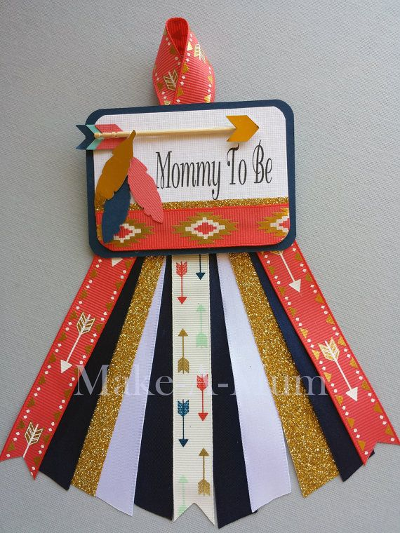 Tribal Baby Girl or Boy Coral and Navy Baby Shower by MakeAMum