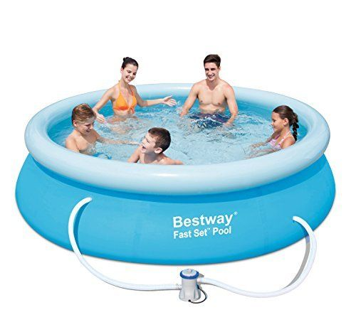 From 38.88:Bestway Fast Set Swimming Pool Set Round Inflatable Above Ground 10ft X 30inch With Filter Pump 57270