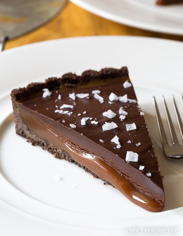 Salted Caramel Chocolate Tart (Gluten Free!) - This divine Chocolate Tart Recipe is made with a gluten free crust! Best dessert we've made all winter!