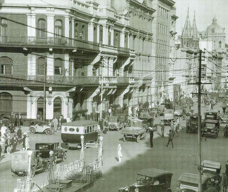 The corner of William Street & St Georges Terrace, Perth, c. 1930s. Spot the lovely flapper lady waiting to cross the road? I keep picturing her breaking into a Charleston as she crosses. And yes, once upon a time, we had trams in Perth!