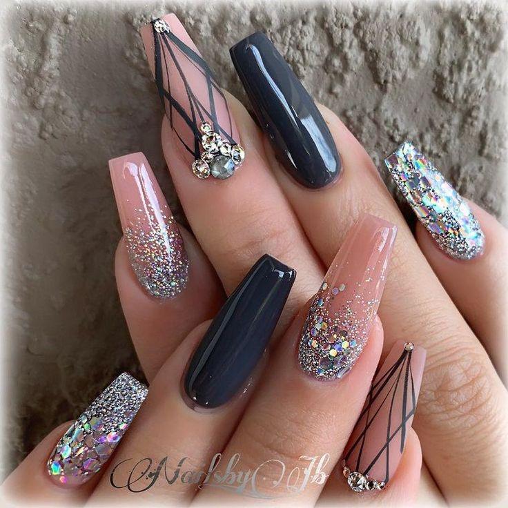 Beautiful nail art design to try this season – long coffin nails , autumn nails …