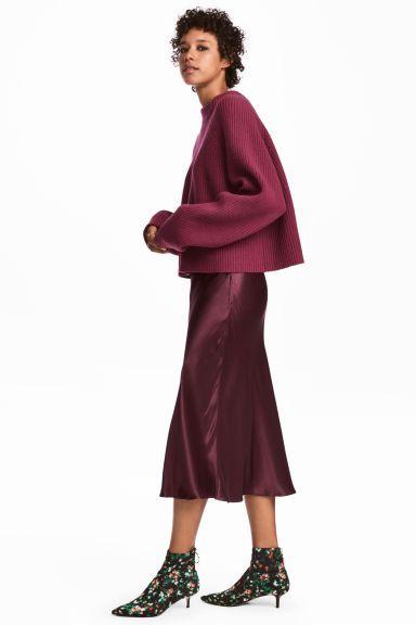 Satin Midi Dress - Bordeaux Red - Ladies |  H & M NL
