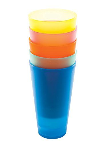 Amazing 6 Pc Colorful Plastic Cups - Reusable Party Cups - BPA-Free Picnic Drinking Cups
