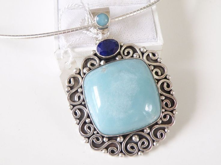 Suarti Sterling Silver LARGE Blue Chalcedony Sapphire Pendant w Omega Necklace #Suarti #Pendant#Chalcedony #Sapphire #BaliJewelry #Suarti #SuartiJewelry #SuartiPendant #SterlingJewelry #SilverJewelry #StatementJewelry #BoldJewelry #SilverPendant #GemstoneJewelry #IndonesiaJewelry #QVC #ArtisanJewelry #BlueGemstones #EthnicJewelry
