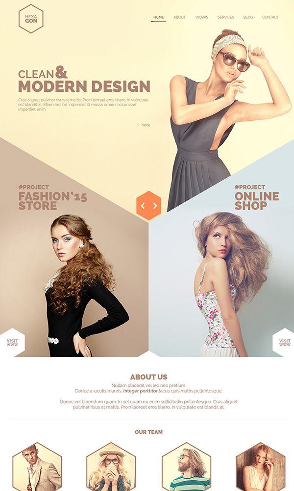 24 PSD Free Website Templates  Hexagon - One Page Portfolio (Free PSD)