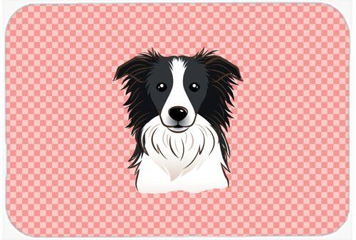 Checkerboard Pink Border Collie Mouse Pad - Hot Pad or Trivet BB1241MP #artwork #artworks