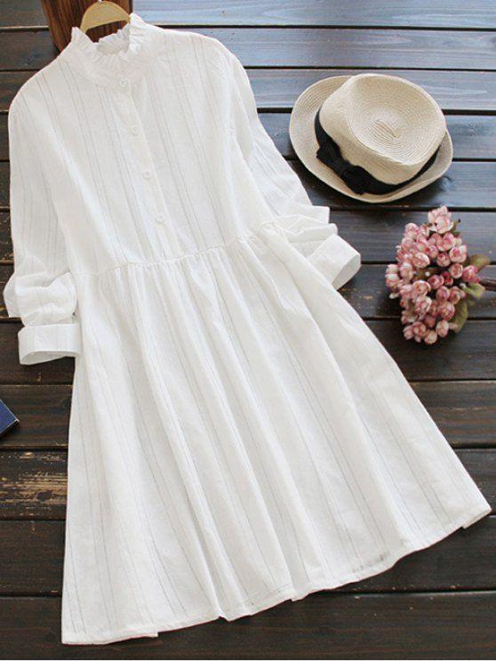 Ruff Collar Smock Dress - WHITE ONE SIZE Mobile