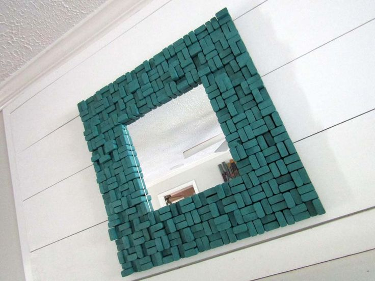 Wood Slice Sculpture - Wooden Mirror - Teal Wall Sculpture - Wood Wall Mirror - Wood Wall Hanging - Teal Wall Mirror by TheInspiredDragonfly on Etsy