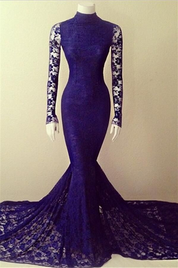 Mermaid Lace Prom Dress Evening Party Dresses with Sleeves pst0489