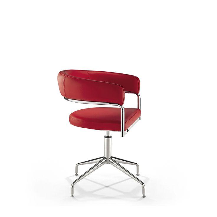 #Sedia a Pozzetto in Pelle o Ecopelle, con braccioli, colonna girevole mod. Scott By Viadurini Collezione Cuoio [www.viadurini.it]