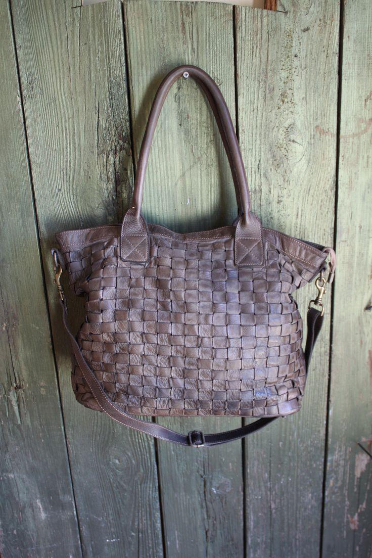 Soft Leather Italian Handbag, Large Leather Tote, Soft Leather Woven Purse, Woven Leather Handbag