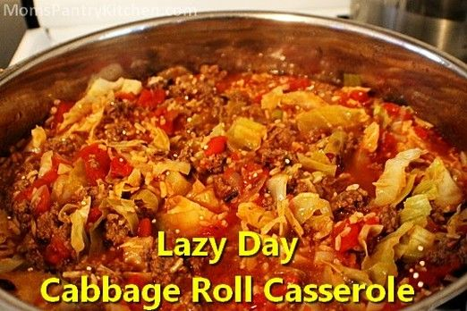 Lazy Day Cabbage Roll Casserole http://www.momspantrykitchen.com/lazy-day-cabbage-roll-casserole.html