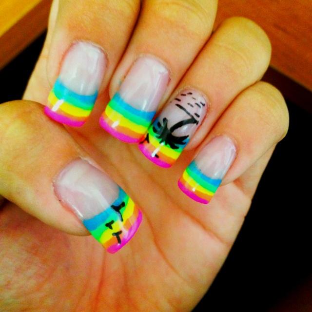 Rainbow Summer Palm Tree Acrylic Nails Nail Art