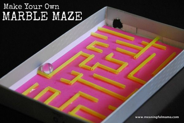 DIY Marble Maze with Straws and a Box Lid