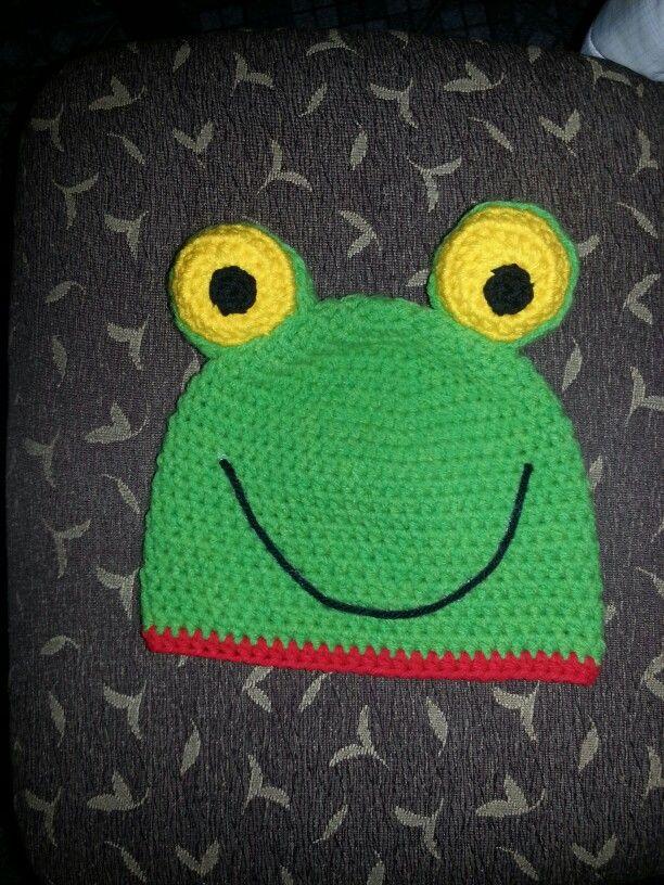Sapo pepe gorro crochet