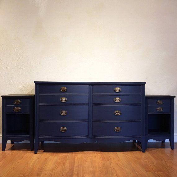 Sold Antique Federal Bedroom Set In Blue Dresser And Two Etsy Bedroom Set White Washed Furniture Selling Antiques