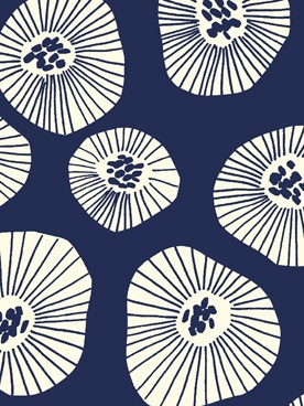 Moira Deep Indigo Fabric by Lotta Jansdotter