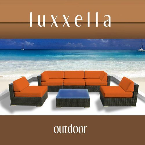 Luxxella Outdoor Patio Couch Wicker Furniture 6pc All Weather Sofa Bella 6 Set ORANGE by Luxxella. $1349.00. Curbside delivery with signature required. All Weather Expresso Brown PE Resin Wicker Sofa Set offers a modular design, that makes it possible for flexibility with numerous arrangement options. Factory Direct Price (MSRP $3199.00). All Luxxella Collection are exclusively made by Luxxella. 6pc Set consists of 2 Corner sofas + 3 Middle Sofas + 1 Coffee Table + 1 Te...