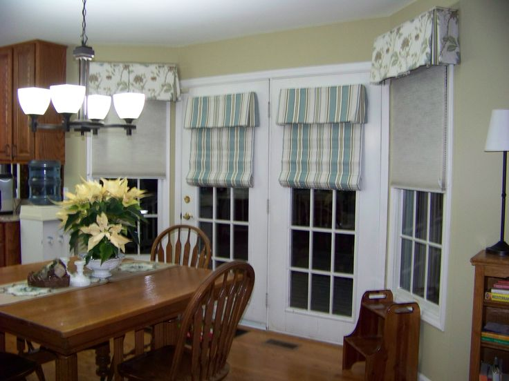 roman shades for french doors window treatments finishing touches interior design - Kitchen Window Valances