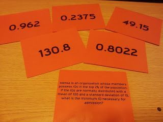Teaching Statistics: #Made4Math - Normal Distribution Cards