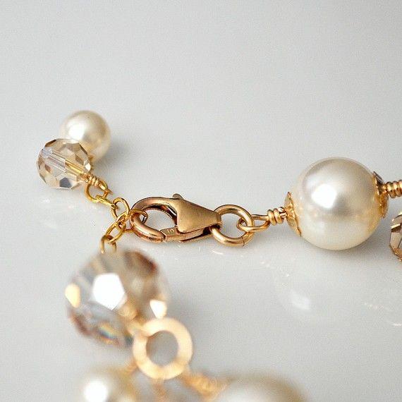 Gold Pearl Bracelet Golden Crystal Bracelet by somethingjeweled, $80.00