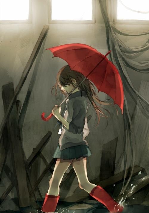 Girl with a red umbrella. | Random Anime | Pinterest