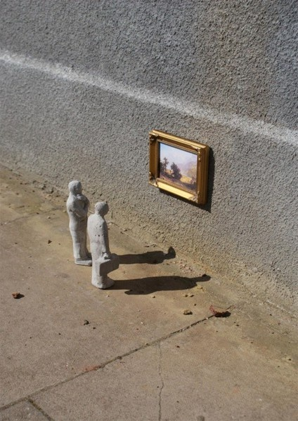 Creator of a tiny community of cement sculptures hidden and isolated around the city, Isaac Cordal invites us to reflect on the sad state of the world through his art. It holds a mirror up to society by recreating scenes of our everyday modern life reminding us of the numb passage of time, the overwhelming influence of consumerism and elimination of nature. Keep your eyes open!