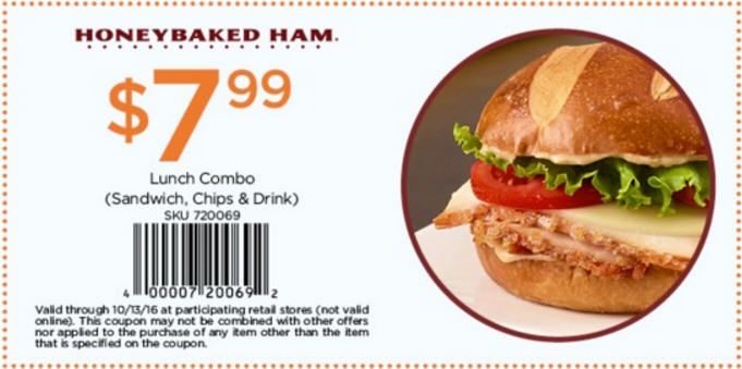 In-Store: Lunch combo includes sandwich, chips & drink just in $7.99.  Store : #HoneyBakedHam Scope : Entire Store Coupon Code : 4000 0720 0692 Ends On : 10/13/16  Get more deals : http://www.geoqpons.com/HoneyBaked-Ham-printable-coupons Get our Android mobile App: https://play.google.com/store/apps/details?id=com.mm.views Get our iOS mobile App: https://itunes.apple.com/us/app/geoqpons-local-coupons-discounts/id397729759?mt=8