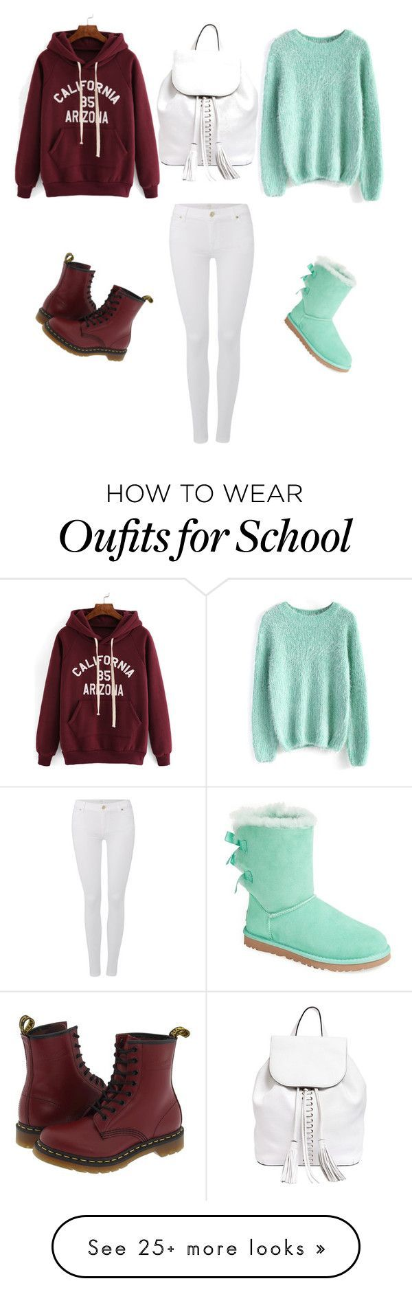 """""""School"""" by donnellamarcelli on Polyvore featuring Chicwish, 7 For All Mankind, UGG Australia, Dr. Martens, Rebecca Minkoff, women's clothing, women's fashion, women, female and woman"""