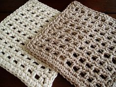 """Pattern for my Waffle Stitch Dishcloth. Smaller and more open than my Waffle Stitch Spa Washcloth, the holes not only give you more scrubbing power but also help the dishcloth to dry faster. Measures an ample 6"""" square. Once you start using these to wash dishes you will never want to use anything else! Can also be used as facial scrubbies. Crochet an assortment of these and pair with environmentally friendly dish soap for a unique housewarming gift."""