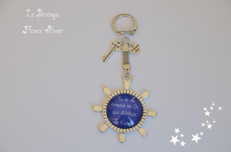 """Porte clés homme gouvernail message """"Tu es un homme en or qui déchire - je t'aime"""" - Idéal cadeau : Porte clés par la-boutique-flower-power"""