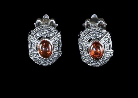 SILVER AMBER CLIP MARCASITE EARRINGS