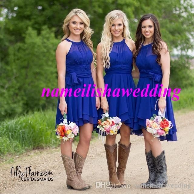 Cheap Country Bridesmaid Dresses Short 2016 Royal Blue Modest Knee Length New Prom Gowns Real Photo Jewel Neck Chiffon Beach Wedding Party