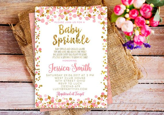confetti baby sprinkle invitation, pink gold baby sprinkle invitation, gold confetti baby sprinkle invite girl, confetti sprinkle invite