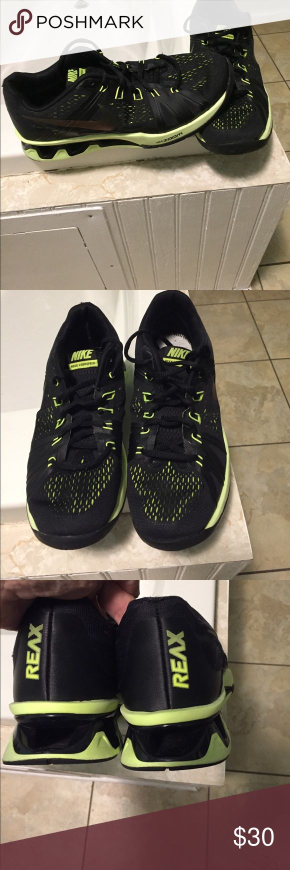 Like New Size 8 ladies Nike Sneakers REAX NIKE BLACK /NEON YELLOW GREEN SNEAKERS IN VERY GOOD CONDITION  , (only needs insoles) Reax Nike Shoes Athletic Shoes