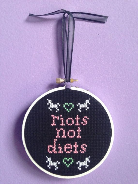 Riots Not Diets Unicorn Cross Stitch by PoorKitty on Etsy, $20.00