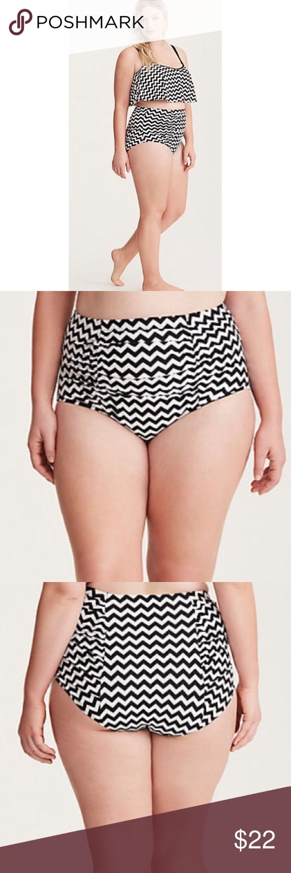 ➕ Torrid chevron high waisted bikini bottoms, 4 4X Brand new with tags, Torrid ruched black & white chevron bikini swimsuit bottoms, size 4 (equivalent to 4X or 26/28). Fully lined with smoothing mesh, slimming silhouette and pattern,  high waisted full coverage. I have an adorable black tie front  top to match! Pair with oversized glasses and floppy hat for designer resort style! torrid Swim Bikinis