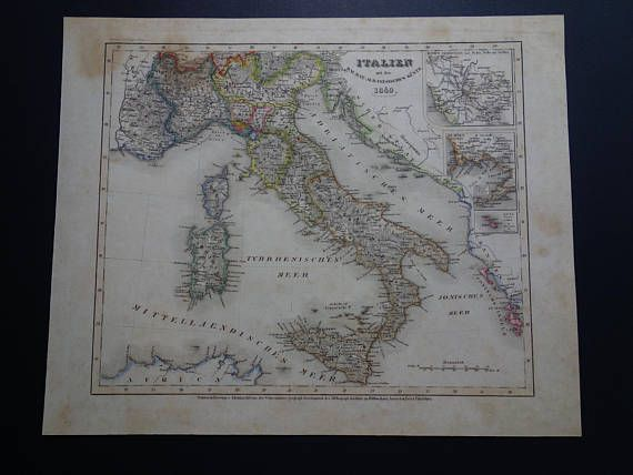 ITALY old map 1849 original antique hand-coloured print of