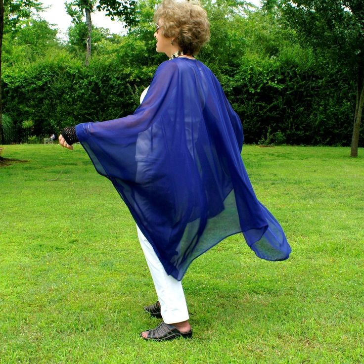 Naughty Navy Wrap, Ruana, Caftan, Kimono, Beach Coverup, Cape or Shawl--Filmy, Sheer Chiffon--See Through--One Size Fits Most Gypsies by YoungbearDesigns on Etsy