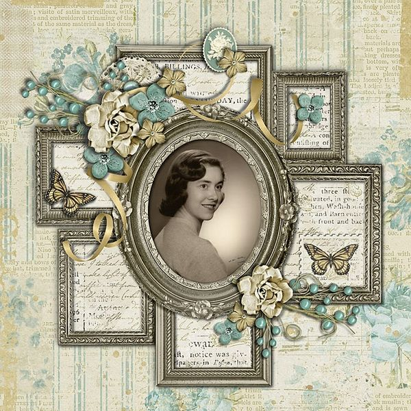 My Mom ~ Lovely heritage digi portrait page with multiple frames. I would add my title and journaling in the outside frames for a more complete genealogical layout. Created with 'Faded' by Krystal Hartley, *part of the March 2014 Scrap Pack* at Scrap Stacks.