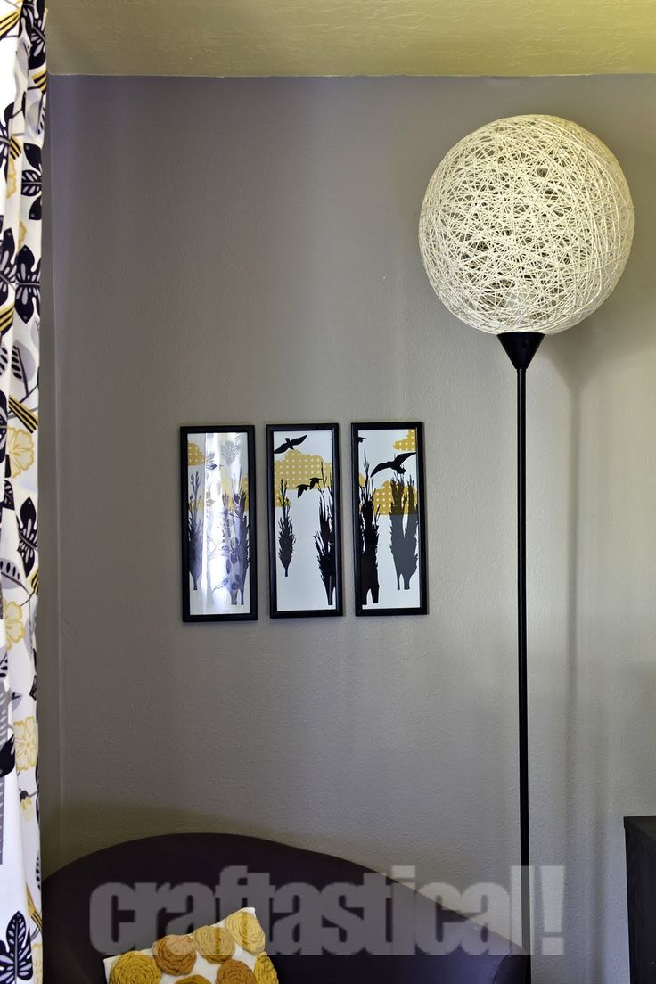 Using a beach ball and string - apply this concept to my cheap floor lamps, but don't use the full beach ball and make it more abstract