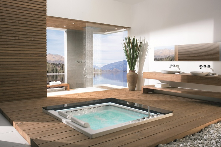 #Kaesch-USA TAKIYU Collection: Whirlpool #Bathtub in awesome #Bathroom with a view, via @rainforest1207