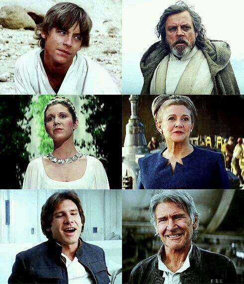 Luke Skywalker, Leia Organa and Han Solo - Before and After