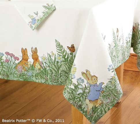 Peter Rabbit Tablecloth from Pottery Barn. I just bought this because we are hosting Easter this year. I had to refrain from buying everything in the set.