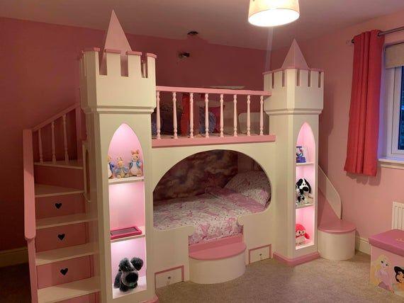 Castle Bunk Beds Pink Princess Castle Bed With Slide Novocom Top