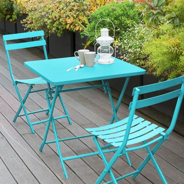 Table de jardin carrée pliante Métal Greensboro (70 x 70 cm ...