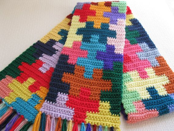 Jigsaw Blanket Knitting Pattern : Puzzle Piece Scarf. Crochet scarf with colorful jigsaw puzzle pieces