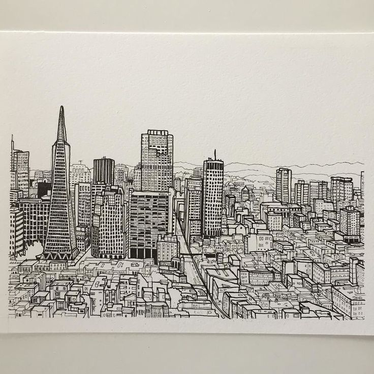 San Francisco #art #drawing #pen #sketch #illustration #linedrawing #sanfrancisco #city #cityscape #california #architecture #buildings