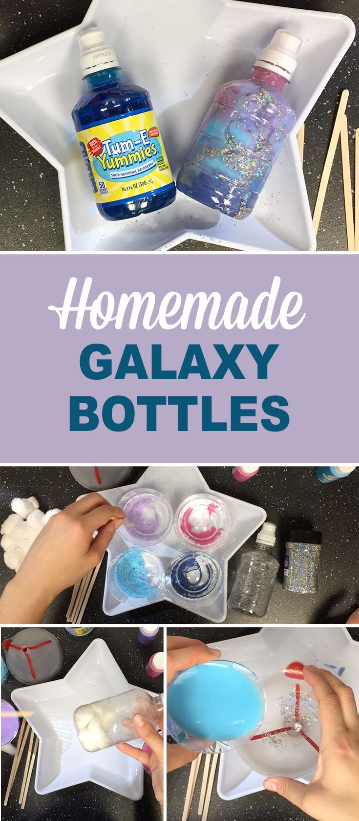 Did your kids get as excited about the eclipse as ours did? Keep their excitement going with a craft that's outta this world. Recycled Tum-E Yummies bottles make the best galaxy!